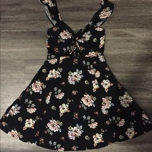 Black Floral Mini Dress!